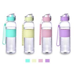 Moda 420 ml Portátil Plástico Deporte al aire libre Viaje Botella de agua potable Seguro Seguro Botella de agua ecológica 4Colors desde fabricantes