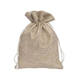 2019 i sacchetti di regalo di iuta 50 pezzi naturali coulisse di tela da imballaggio borse sacchetti di gioielli 4x6