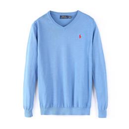Camisa do pescoço do algodão v on-line-Logotipo da marca de alta qualidade dos homens pônei bordado camisola quente camisa de moda de algodão V pescoço camisa de roupas casuais