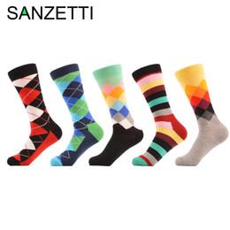 Wholesale Fun Socks Men - SANZETTI 5 pair lot Argyle Striped Colorful Fun Men Socks Combed Cotton Socks Dress Wedding US 7.5-12