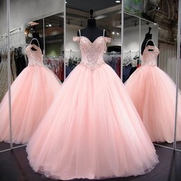 Wholesale Gold 15 Dresses - Adorable Pink Ball Gown Quinceanera Dresses Spaghetti Straps Sequins Beads Appliques Sweet 15 Pageant Party Gowns Formal with Corset Back