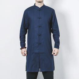 2018 nuevo para hombre de algodón de lino camisas largas camisas de manga larga cuello alto chino tradicional ropa masculina traje más el tamaño desde fabricantes