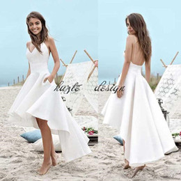 sheer pocket Promo Codes - High Low Short Beach Wedding Dresses 2018 A Line Vestido De Noiva Cheap Merry Sexy Straps pocket Satin Simple Cheap Summer Bridal Gowns