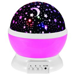 Wholesale Led Starry Sky Projector - Rotation Night Light Starry Star Moon Sky Romantic Night Projector Light Lam Decorating Wedding, Birthday, Parties Free shipping