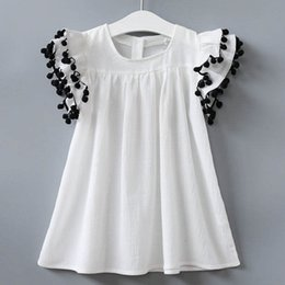 Wholesale Girls Ruffled White Blouses - new children's princess dress kids summer blouse t-shirt flying short sleeve ball T-shirt baby girls boutique clothes