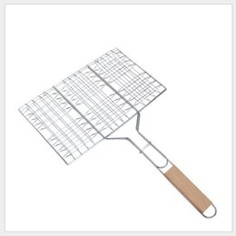 steel netting Promo Codes - Summer Outdoor Barbecue Tools Grilled Fish Clip Roast Meat Hamburger Net Environment Barbecue Accessories with Wood Crank GGA288 60PCS