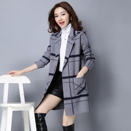 Wholesale Cashmere Cardigan Xs - Korean version of the fall and winter clothes loose knit cashmere sweater and long-sleeved cardigan jacket coat child grid