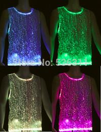 Wholesale Rgb L - 2017 Fashion led tshirt flash casual tank top fiber optic luminous clothing men t shirt clubwear sleeveless RGB LED