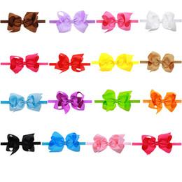 Canada Doux fille bébé enfants bow bandeaux élastiques vente chaude multicolore 16 couleurs mix fleur bandeau taille 15 * 8 cm belle filles bande de cheveux cheap elastic 8cm Offre