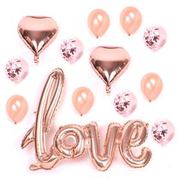 2019 letras grandes de globos de aluminio Grandes letras de amor de oro rosa Globo lámina Glitter Confetti Globo Emulsión transparente Aluminio Película Estrellas Ballonnen Bruiloft rebajas letras grandes de globos de aluminio