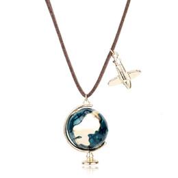 Wholesale earth globe necklace - MQCHUN Fashion Mini Globe Earth Aircraft Plane Pendant Charm Leather Enamel Necklace Traveling World Jewelry Unisex Turist Gifts