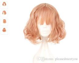 MCOSER Japão e Coréia Do Sul Peruca Air Bang Parágrafo Com Diariamente Harajuku Rosa Ouro Peruca Cosplay 100% de Fibra De Alta Temperatura de Fornecedores de cabelo estrela laranja