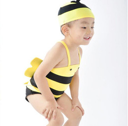 infant boy bath Coupons - Cute Infant Baby Kids Swimsuit Cute Cartoon Bee Swimwear Children Boys Girls Baby Swimsuit Bathing Suit with Hat 13423