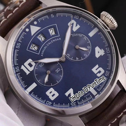 grande relógio de mens marrom Desconto Novo 46mm IW502708 Caixa De Aço Dial Azul Data Grande Dia Automático Mens Watch Brown Leather Strap Relógios Esportivos de Alta Qualidade Puretime IW-B290a1