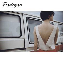 Wholesale Boutique Clothes Women - PADEGAO Fashion White V-neck Short Vest Tops Sexy Backless Lady Clothse 2017 Summer High Quality Women Casual Boutique Clothing