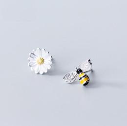 weißgold nummer 925 Rabatt Asymmetrische Honeybee Silber Ohrringe für Frauen 100% Echt 925 Sterling Silber Ohrstecker yh5300