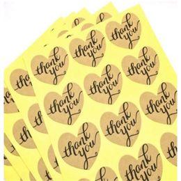 Autocollants pour la cuisson en Ligne-Merci bricolage forme de coeur autocollants cercle cadeau emballage de gâteau à la main étiquette de sceau autocollant kraft outils de cuisson 0 2xl bb