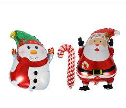 2019 schneemann aufblasbar Weihnachtsaluminiumfolie-Ballone Weihnachtsmann-Ballon-Schneemann-Krücke-Ballon für Weihnachtsfest-Dekoration-aufblasbaren Luftballon günstig schneemann aufblasbar