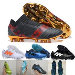 Wholesale Messi Football Boots - Hot Nemeziz Messi 17+ 360 Agility FG Soccer Cleats Triple Black Magnetic Pyro Storm Mens Turf Soccer Training Cleats Boots Football Shoes