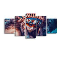 Wholesale Framed Oil Painting Girls - 5 pieces high-definition no frame print Indians Girl canvas oil painting poster and wall art living room picture RW-075
