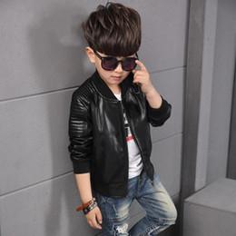 muchachos abrigos marrones Rebajas Baby Boy Chaqueta de cuero Chaqueta para niños Chaqueta de niños Garcon para niños de color marrón y negro