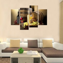 Wholesale Fruit Oil Paintings - 4 Pieces Red Wine Painting Wine And Fruit With Glass And Barrel Wall Art Painting Pictures Print On Canvas Home Modern Decor Unframed Gifts