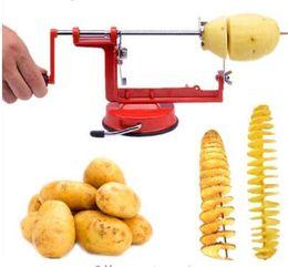 Wholesale Sweet Machines - 1 Pc Rotate Potato Machine Stainless Steel Sweet Potatoes Twisted Tornado Slicer Kitchen Hand Rotate Spiral Tool