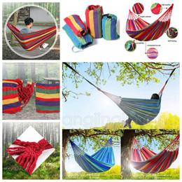 Altalene a canna esterna online-Outdoor Hang Bed Garden Hammock Viaggio portatile Camping Swing Sopravvivenza Sacchi a pelo all'aperto appeso Canvas Stripe Letto FFA1245