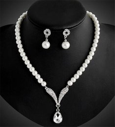Wholesale Prom For Sale - 2018 Cheap Necklace Earrings Jewelry Sets Faux Pearls Hot Sale Women's Bridal Wedding Pageant Rhinestone for Party Prom Bridal Jewelry