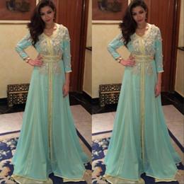 Noite kaftan frisado por muito tempo on-line-Sage Manga Comprida Vestido de Baile Dubai Árabe Kaftan Frisada Brilhante de cristal robe de soirée Vestidos de Baile Formal Vestidos de Noite