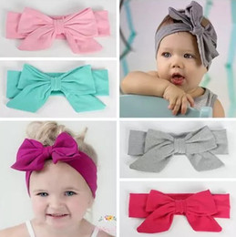 Wholesale Infant Girl Headwraps - 2018 baby big bowknot headbands for girls hair bows solid cotton kids hair accessories boutique infant hairbands soft headwraps wholesale