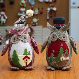 Wholesale Wholesale Small Black Dolls - Christmas Cartoon Ornaments Linen Owl Plush Doll Aberdeen Gift For child Home Decor Christmas party Decor Room small ornament