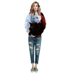 Wholesale United States Uniforms - Europe and the United States women's new products wolf digital printing hooded sweater baseball uniform sweater sweater lovers