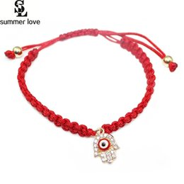 Wholesale Turkish Eye Lucky Charm - Wholesale- 2017 Hamasa Hand Crystal Red Eye Bracelet Men Women Lucky Turkish Braided Thread Charm Bracelets Jewelry Handmade For Women