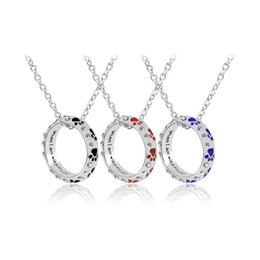 Wholesale Dog Ring Fashion - Enamel Letter when I am with my pet Necklace Crystal Dog Paw Ring Pendant for Women Necklaces Fashion Jewelry Christmas drop ship 161764