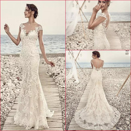 Wholesale Eddy K - 2018 Wedding Dresses Eddy K Aires Mermaid Appliques Lace Gorgeous Sheer Neck and Back Cap Sleeve Vintage Wedding Gowns Custom Made MZ03