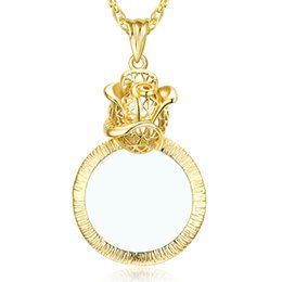 Wholesale Magnifying Glass Chain - Rose Flower Design Pendant Jewellers magnifying glasses Pendant necklace Gold and Rhodium Plated Magnifier necklace