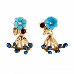 Wholesale blue enamel flower earrings - French Brand Deisng Blue Floral Gold Earrings For Girls High Quality Enamel Earring Luxury Wedding Jewelries Wholesale