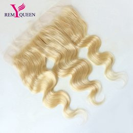 Wholesale Hot Blondes - Remy Queen 10A Brazilian Blonde 613# Body Wave 13x4 Lace Frontal Ear To Ear Swiss Franch Lace 2018 News Hot Sale Free Shipping