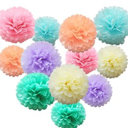 white roses wedding basket Promo Codes - Tissue Paper Flower Pom Pom Rose Ball 10-35cm Hanging Paper Garland Baby Shower Wedding Party Decoration Craft DIY Supplies