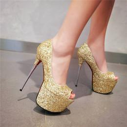Открытые платформы с золотым белым носком онлайн-Блеск Блестками Ткань Женщина Туфли На Платформе 16 см Высокий Стальной Каблук Открытый Peep Toe Классические Туфли Sexy Gold White Wedding Party Club Lady Stiletto