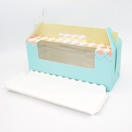 Wholesale cup cakes boxes - Packing Gift Box 3 Lattice Portable Wrap Pink Blue Paper Cup Cake Roll Baking Multicolor Festive Party Supplies 0 58yd V
