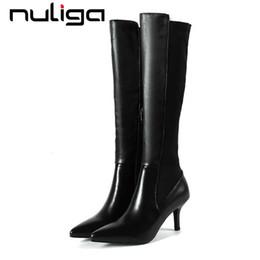 0f1516d23cd9 2019 talon aiguille pointu Nuliga hiver bottes slouch plus la taille de  couleur noire en cuir