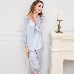 bd35b5b003 Free Shipping 100% Mulberry Silk Sleepwear Women Sexy Lace Satin Lingerie  Smooth Nightwear Sleepwear Pajama Set