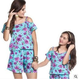 Wholesale Plus Size Spring Clothes - Plus Size Mother and Daughter Matching Clothing Jumpsuit Outfits 2018 Summer Off Shoulder Floral Mother and Daughter Clothes Family Clothing