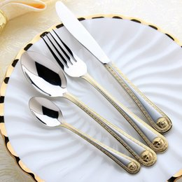 Wholesale Fork Kits - Wholesale 4Pcs Medusa Head Gold Plate Cutlery Stainless Steel Flatware Set Tableware Dinnerware Knife Spoon Fork