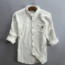 Wholesale shirt vintage male - Helisopus 2017 Men Linen Shirt Half Sleeve Cotton Thin Grey Black Shirts with pocket Plus Size Male Casual Vintage Shirts