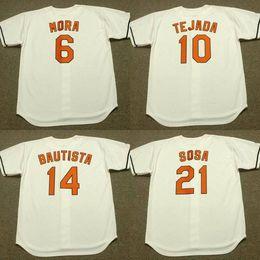 Wholesale Mora Black - custom men youth 14 JOSE BAUTISTA 21 SAMMY SOSA 10 MIGUEL TEJADA 6 MELVIN MORA 1983 Baseball Jersey