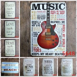 Wholesale Beach Bar Signs - 20x30cm WINE HOME BEACH MUSIC Retro Iron painting metal tin signs wall decoration plaque vintage metal painting pub bar home craft decor