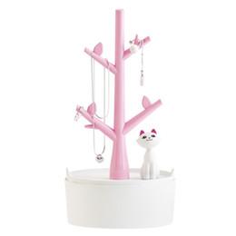 Wholesale Earring Hangers - Super Cute Cat Design Jewelry Box Earrings Hangers Rings Bracelet Storage Rack Jewelry Holder Organizer Casket for Decorations
